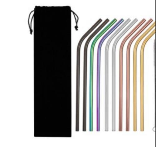 4 Pcs Stainless Steel Metal Drinking Straw Reusable Straws + Cleaner Brush Kit 3