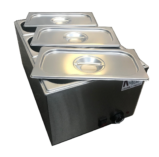 Wet well bain marie hot food sauce warmer with 1/3 gastronorms and lids 2