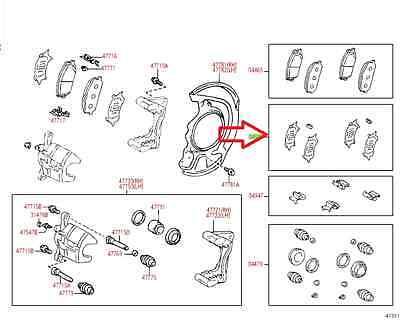 LEXUS OEM FACTORY FRONT BRAKE PAD SHIM KIT 2007-2009 RX350
