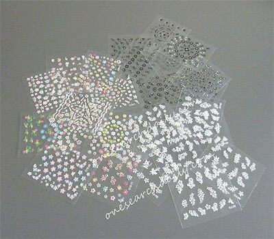 10 Sheets Nail Art Transfer Stickers 3D Design Manicure Tips Decal Decorations 2