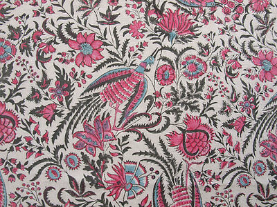 """Hand Block Printed, Cotton Fabric. 2.5 Yards, 42"""" Wide. Birds of Paradise Rose 3"""