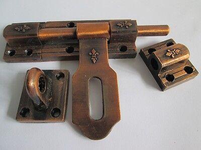 Vintage Slide Latch Bolt Door Hasp Cast iron Rustic Long Handle Double Lock tool 4