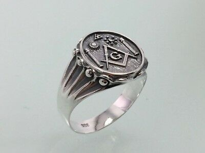 5daebd77a469d MASONIC RING SILVER 925 Pillars Sun Moon All Seeing Eye New Handmade  Freemasonry