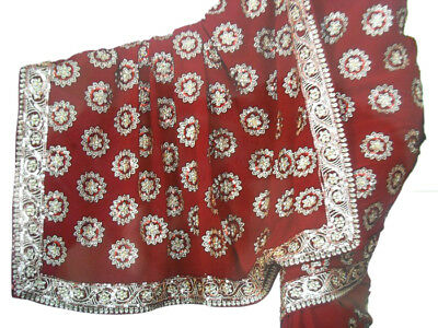 Maroon Wedding Bollywood Sequin Embroidery Sari Saree Costume danse du ventre