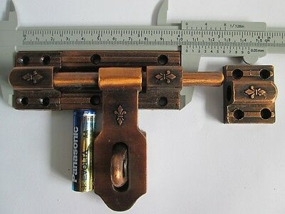 Vintage Slide Latch Bolt Door Hasp Cast iron Rustic Long Handle Double Lock tool 2