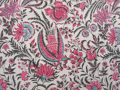 """Hand Block Printed, Cotton Fabric. 2.5 Yards, 42"""" Wide. Birds of Paradise Rose 4"""