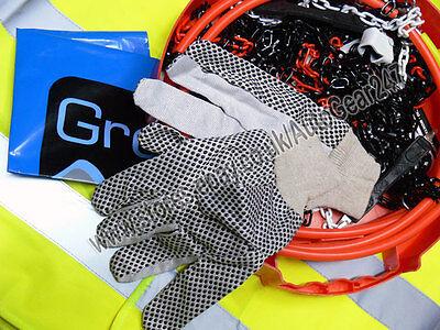 Tyre TUV Approved 9mm Snow Chains 225//50 R16 Hi-Viz Vest,Gloves /& Mat-A10