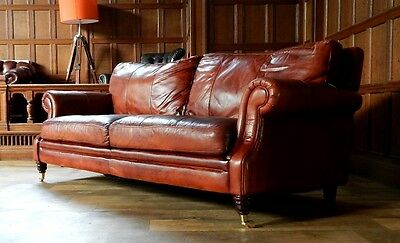 VICTORIAN STYLE CHESTNUT ANTIQUE TAN BROWN LEATHER 3 SEATER CLUB SOFA 2 of PAIR 3