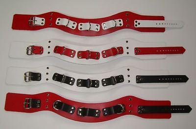 anatomische Leder-Halsbänder 3-D-Ringe breit in vielen Farben + Variationen 6