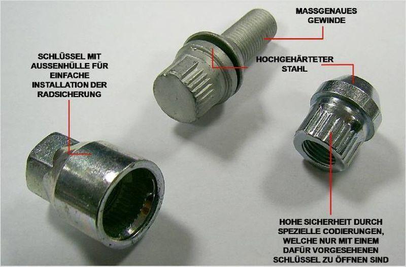 Felgenschloss VW Touran Schraube M14x1.50x30 Kegelbund 60° Diebstahlsicherung