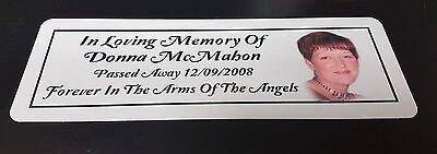 Personalised Memorial Rememberance Bench Plaque Photo Weatherproof Aluminium 2
