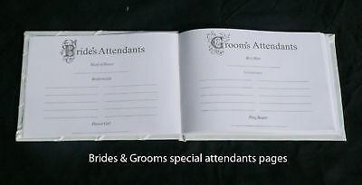 White Wedding Guest Book Register Pink Rose Silver Pen Stand Set bride groom pge
