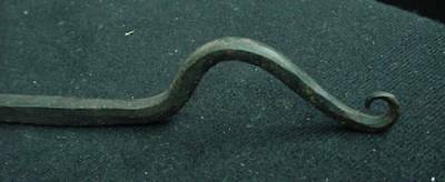 "Architectural Antique Blacksmith Made Heart & Rat Tail Hook 12"" Long Hardware 3"