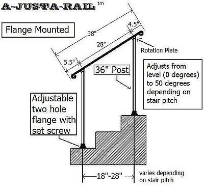 """38""""  A-Justa-Rail with mounting shoe Wrought Iron stair Railing step grab Steel 3"""