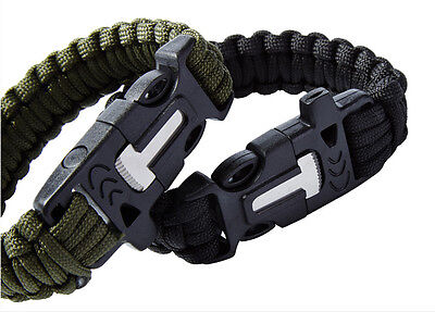 3 Of 8 Survival Tactical Bracelet Outdoor Paracord Ser Whistle Flint Fire Gear Sos