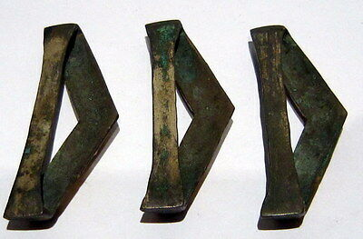 Lot of 3 Post medieval Silver Belt Mounts 16-18th-Gold Plated-Cleaned # 99A