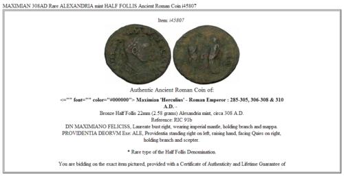 MAXIMIAN 308AD Rare ALEXANDRIA mint HALF FOLLIS Ancient Roman Coin i45807 3