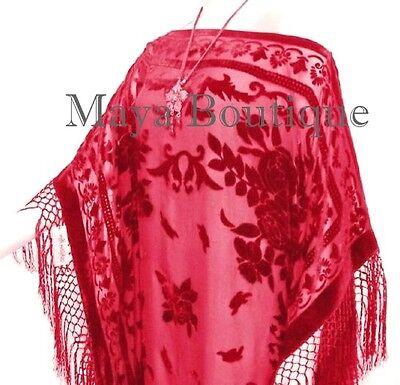Fringe Jacket Kimono Scarlet Red Silk Burnout Velvet Short Maya Matazaro US Made
