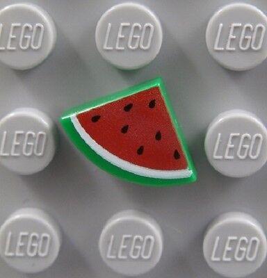 Lego Minifig Accesory x 1 Green Tile 1 x 1 Quarter Dark Pink Watermelon Pattern