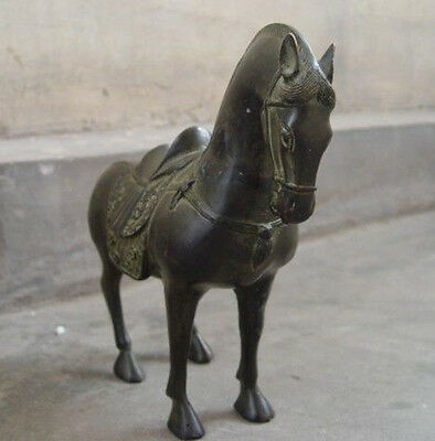 Dynasty Old Chinese antique Bronze Horse Statue 25cm 3
