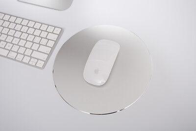 gaming Mauspad Mousepad Doppelseitig Aluminium Leder Metall rund silber gold 4
