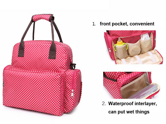 Large Capacity Mummy Bag Baby Diaper Nappy Maternity Changing Travel Backpack US 4