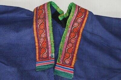 Vintage tribal chinese minority people' old hand batik embroidery costume jacket 3