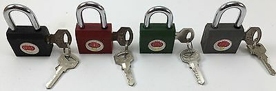 "12 Iron Padlocks Asstd Colors 1+1/8 Inch Wide, 2"" High W/ Keys Not Keyed-Alike 3"