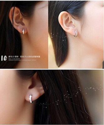 Women Silver Round Crystal Heart Hoop Ear Stud Earrings Wedding Bridal Jewelry 9
