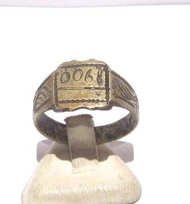 MARVELOUS TOP QUALITY BRONZE ANTIQUE 1900's PERSONAL RING,YEAR INSCRIBED # 698 4