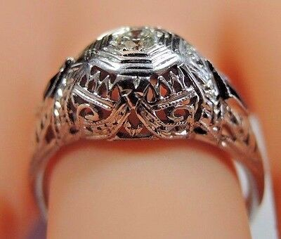 Antique Art Deco Diamond Engagement 20K White Gold Ring Size 5.75 UK-L EGL USA 10