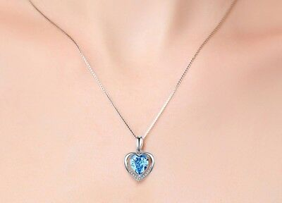 925 Sterling Silver Heart Crystal Stone Pendant Chain Necklace Womens Jewellery 3