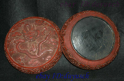 """8"""" Old Chinese Carved Lacquerware Craftwork Dragon pattern casket Jewelry Box 7"""