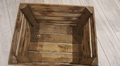 6 x BURNT TOURCHED WOOD VINTAGE WOODEN APPLE FRUIT CRATE RUSTIC OLD BUSHEL BOX.. 4
