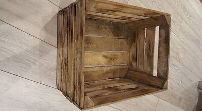 6 x BURNT TOURCHED WOOD VINTAGE WOODEN APPLE FRUIT CRATE RUSTIC OLD BUSHEL BOX.. 3