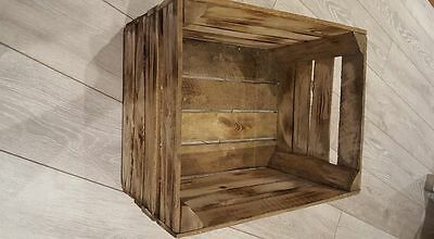 Burnt Tourched Wood Vintage Wooden Apple Fruit Crate Rustic Old Bushel Box.... 2