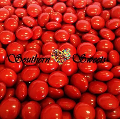 Red Choc Buttons 1Kg Crunchy Chocolate Drops Beanies Red Lollies Candy 2