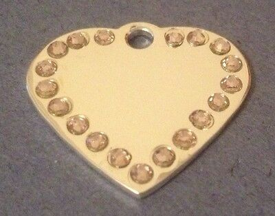 *SMALL* SILVER HEART with *PINK* Diamantes / bling. Engraved Cat/Dog/Pet ID tag 2