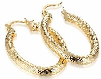 Women/'s Thick 40mm Oval Gold Plated Hoop Earrings Round Creole Chic Hoops GIFT