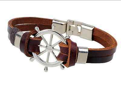Fashion Retro Multilayer Leather Wristband Bracelet Cuff Bangle Men Women Unisex 11