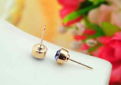 Stunning 18K Rose Gold GF 5MM SWAROVSKI Lab Diamond Stud Earrings Lovely Gift 8