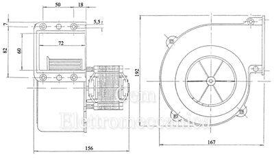 Ventilatore Centrifugo  2800 giri caldaia forgia Motore Elettrico 80 W Monofase 5
