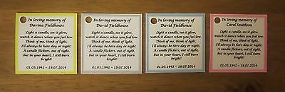 Funeral Personalised Remembrance & any occasion candle favours. Light in memory 7