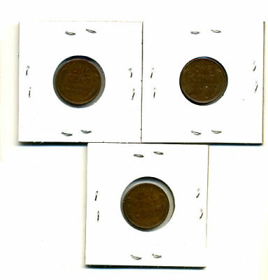 1953 P,d,s Wheat Pennies Lincoln Cents Circulated 2X2 Flips 3 Coin Pds Set#3608 2