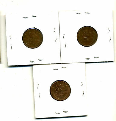 1951 P,d,s Wheat Pennies Lincoln Cents Circulated 2X2 Flips 3 Coin Pds Set#4046 2