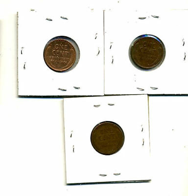 1951 P,d,s Wheat Pennies Lincoln Cents Circulated 2X2 Flips 3 Coin Pds Set#4205 2