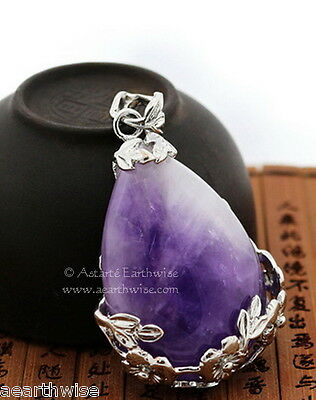 AMETHYST FLOWERS PENDANT C Wicca Witch Goth Pagan Reiki HEALING CRYSTAL