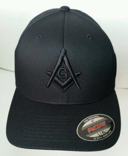 Flexfit Mason Hat 3D Puff Embroidery All Black Baseball Cap Masonic Gear