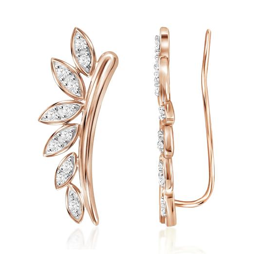 10K or Blanc Diamant Escalade BOUCLES D/'OREILLES courbées oreille grimpeurs .16 ct
