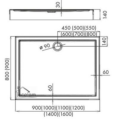 duschwanne duschtasse rechteck 100 x 80 90 120 x 80 90 h 14 cm competia ablauf eur 229 99. Black Bedroom Furniture Sets. Home Design Ideas
